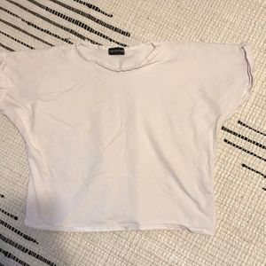White boxy cropped tee